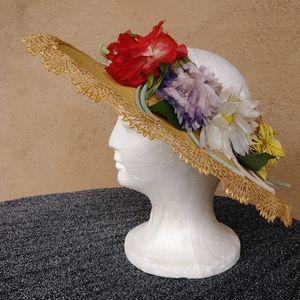 1950s Cartwheel Straw Saucer Hat